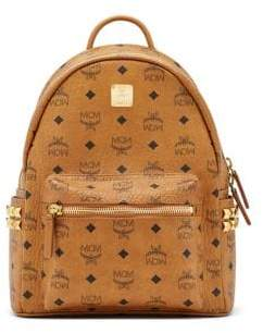 MCM Mini Stark Studded Coated Canvas Backpack