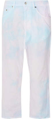 MM6 MAISON MARGIELA Tie-dyed Cropped Cotton-poplin Pants - Pink