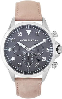 Michael Kors MK8616 Grey & Beige Gage Leather Strap Watch