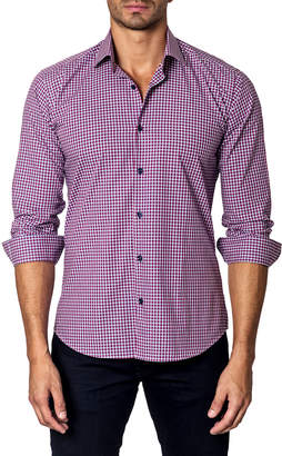 Unsimply Stitched Square-Pattern Sport Shirt, Maroon