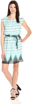 Robbie Bee Women's Boarder Print Chiffon Blouson Dress with Cap Sleeve