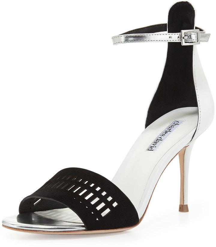 Charles David Margie Suede-Cutout Leather Sandal, Black/White