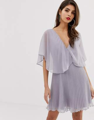 Asos Design DESIGN mini dress with pleat skirt and flutter sleeve