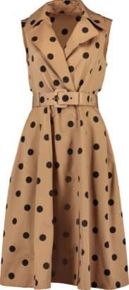 Oscar de la Renta Polka Dot Belted Trench Dress