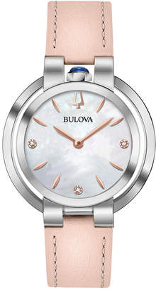 Bulova Women's Diamond-Accent Rubaiyat Pink Leather Strap Watch 35mm