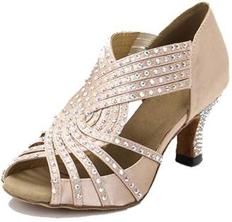BEIGE TDA Womens Zipper Flared Heel Satin Crystals Latin Modern Salsa Tango Ballroom Wedding Dance Shoes