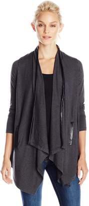 Splendid Women's Tencel Jersey Faux Leather Cardigan