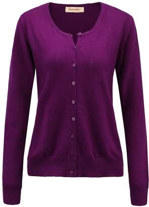 BEIGE Panreddy Women's Wool Cashmere Classic Cardigan Sweater V Dark Red L