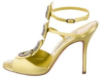 Manolo Blahnik Embellished Satin Sandals