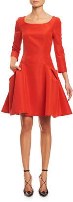 Carolina Herrera 3/4-Sleeve Mini Fit & Flare Cocktail Dress