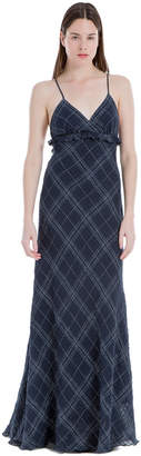 Max Studio linen plaid maxi dress