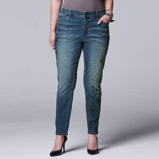 Vera Wang Plus Size Simply Vera Printed Embellished Skinny Jeans