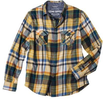 Mossimo Men's Flannel Shirt - Dijon Gold Plaid