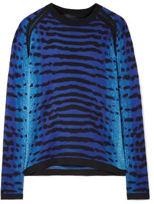 Proenza Schouler Pointelle-trimmed Intarsia Silk Sweater - Bright blue