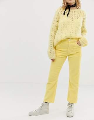 Asos Design DESIGN Florence authentic straight in lemon cord