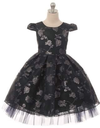 Kids Dream Organza Jacquard Dress Navy