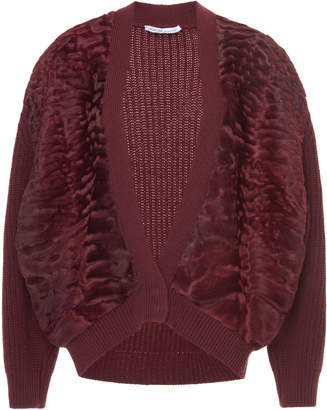 Agnona Cashmere Pearl Ribs With Astrakhan Fur