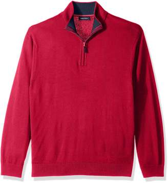Nautica Men's Big-Tall Long Sleeve 1/4 Zip Solid Sweater with Suede Pull Detail Sweater