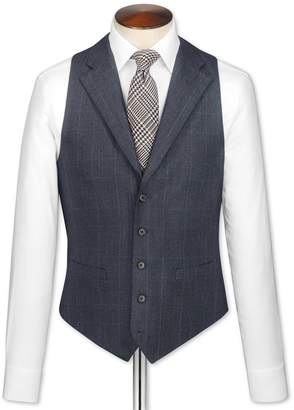Navy Check Saxony Business Suit Wool Vest Size w36 by Charles Tyrwhitt