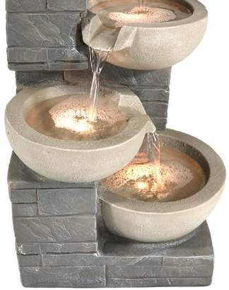SunnyDaze Decor Polyresin 4 Tier Descending Stone Bowl Outdoor Water Fountain