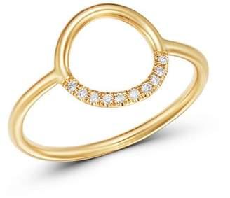 Chicco Zoë 14K Yellow Gold Small Thick Circle Pavé Diamond Ring