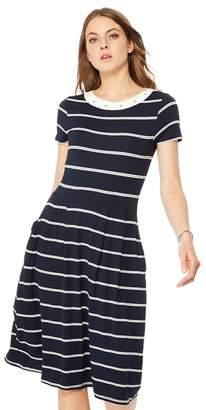 2b6df8af85 Maine New England - Navy Stripe Print Jersey Knee Length Dress