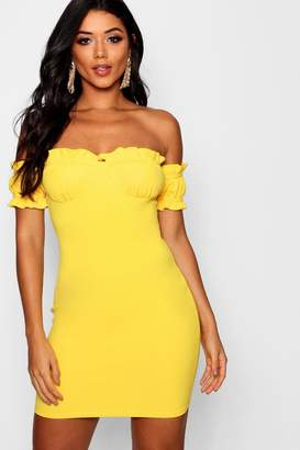 boohoo Tina Offf the Shoulde Frill Detail Bodycon Dress