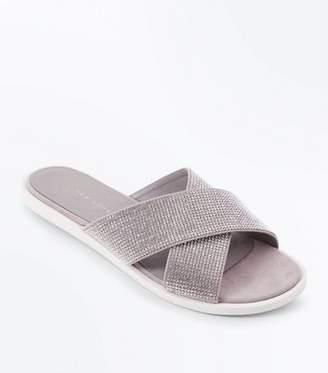 New Look Wide Fit Grey Diamanté Cross Strap Sliders