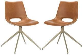 Safavieh Danube Leather Swivel Dining Chair, Set of 2