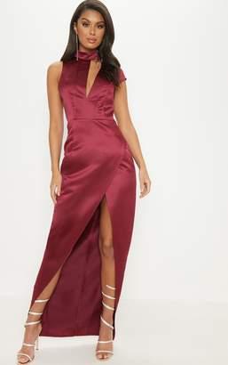 d15bf1b0ec PrettyLittleThing Burgundy Satin Drape Detail Wrap Maxi Dress