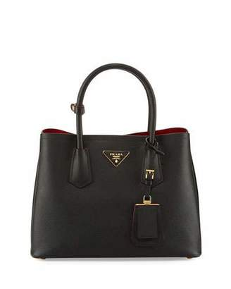Prada Saffiano Cuir Double Medium Tote Bag $2,600 thestylecure.com