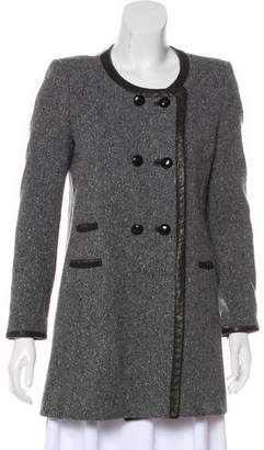 Isabel Marant Leather-Trimmed Wool Coat