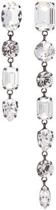 Swarovski Joomi Lim crystal mismatched linear drop clip earrings