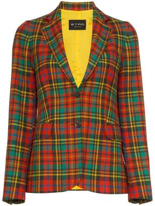 Etro single breasted check print wool blazer