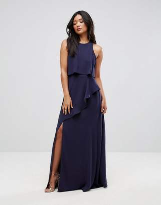 Asos Design Crop Top Thigh Split Maxi Dress