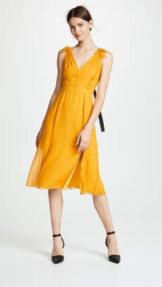 Prabal Gurung Deep V Silk Dress with Button Detail