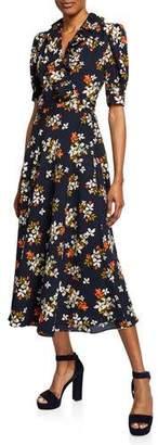 Jill Stuart Floral-Print Elbow-Sleeve Midi Wrap Dress