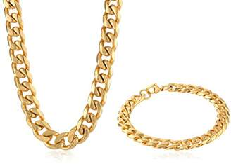 Men's -Tone Stainless Steel Curb-Chain Bracelet and Necklace Jewelry Set