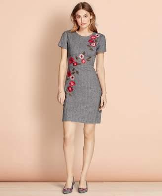 Brooks Brothers Floral-Embroidered Herringbone Dress
