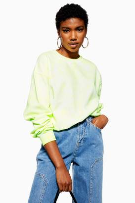 Topshop Womens Fluorescent Washed Sweatshirt - Yellow