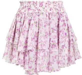 Caroline Constas Silk Floral Mini Skirt
