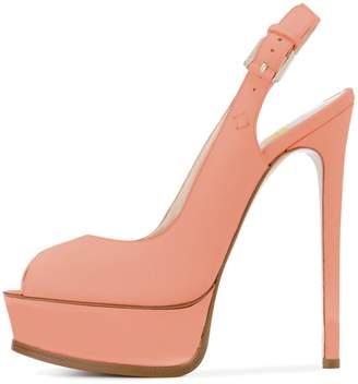 e20cd77bb3 FSJ Women Sexy Peep Toe Stilettos Pumps with Platform High Heels Slingback  Sandals Size 7
