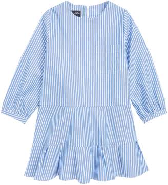 Oscar de la Renta Stripe Drop Waist Dress