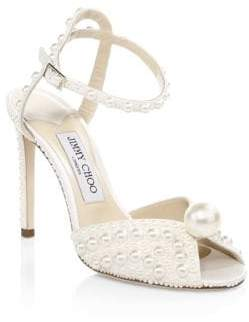 Jimmy Choo Sacora Satin Peep-Toe Pumps