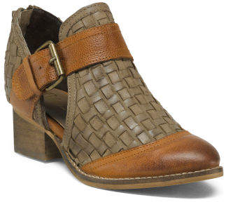 Leather Woven Cutout Booties