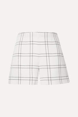 Akris Carlotta Checked Wool-blend Crepe Shorts - Ivory