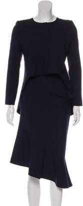 Oscar de la Renta Asymmetrical Midi Skirt Suit
