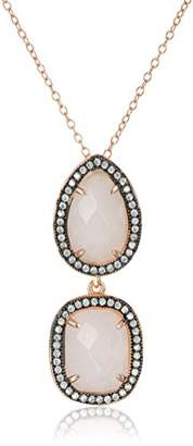 Sterling Silver Tone Italian Quartz and Crystal Multi-Shape Pendant Necklace