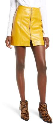 Moon River Zip Front Faux Leather Miniskirt