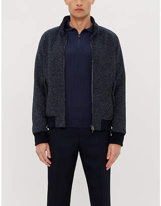 Corneliani Zip-neck wool-knit polo shirt